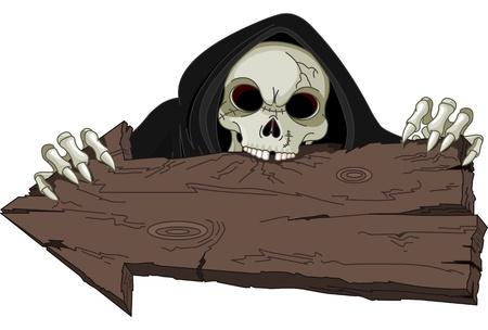 Halloween horrible Grim Reaper over arrow Vettoriali