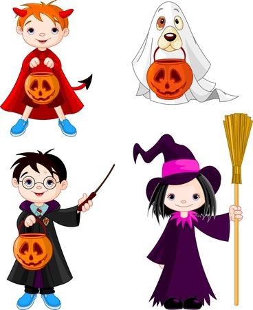 Dzieci noszą kostiumy Halloween