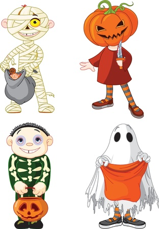 Children wearing Halloween costumes Vector