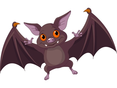 Illustration of Cute Cartoon Halloween bat  flying Vector