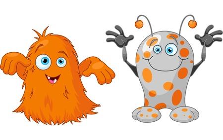 Illustratie van twee schattige kleine monsters