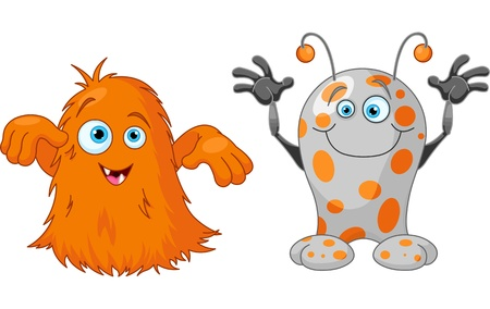 Illustration of two cute little monsters Vector
