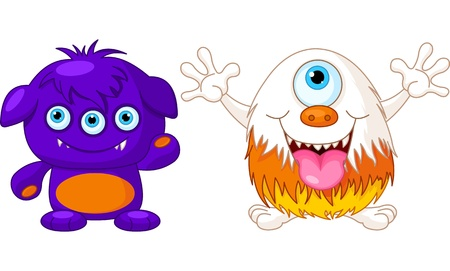 Illustration of two cute funny monsters Vector