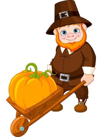Illustration of cute Cute pilgrim with wheelbarrow Vector