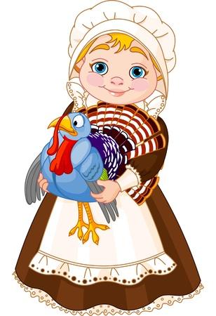Illustratie van leuke Pilgrim dame met kalkoen