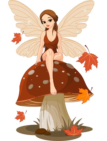 fairy woman: Autumn fairy sitting on mushroom Illustration