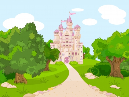 fairy cartoon:  Beautiful  fairytale castle on hill Illustration