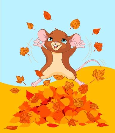 葉の山にジャンプ マウスの図  イラスト・ベクター素材