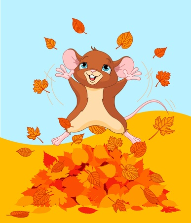 Illustration of a mice jumping in a pile of leaves Vector