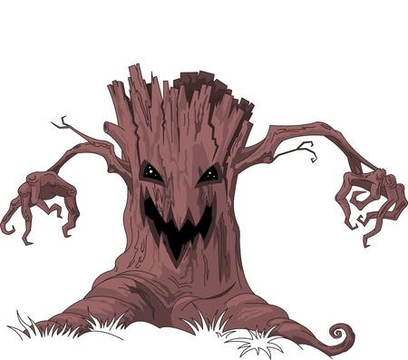 przerażający: Halloween Scary drzewo Ilustracja
