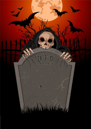 hell: Halloween horrible Grim Reaper over  tomb stone