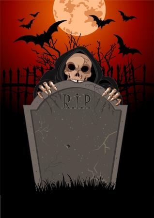 tombes: Halloween horribles Grim Reaper sur le tombeau de pierre
