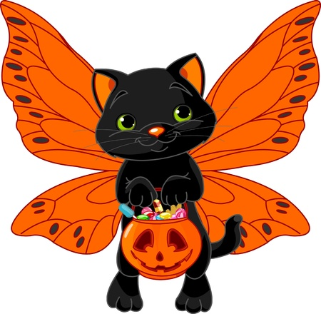 halloween cartoon: Cat with bag full of Halloween treats