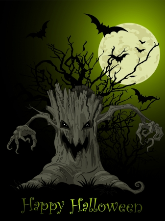 Halloween Scary tree background Vector