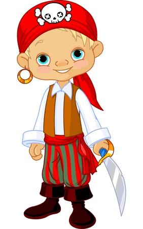 calavera pirata: Niño vestido como un pirata Vectores