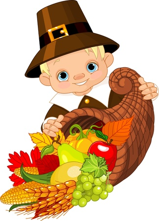 Little pilgrim with horn of plenty Vector
