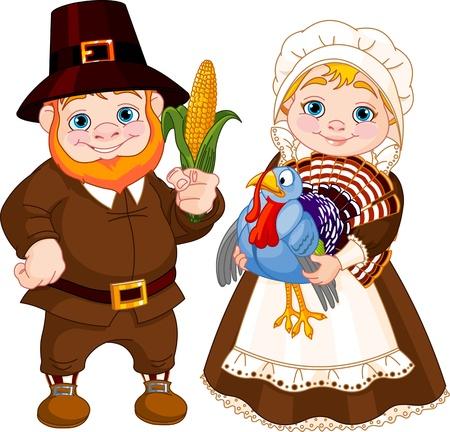 p�lerin: Illustration de mignon p�lerins Couple