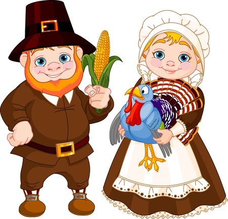 Illustration of Cute Pilgrims Couple