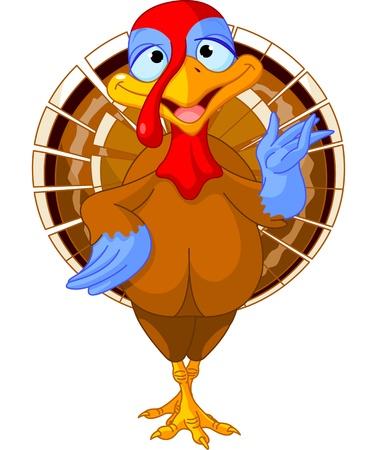 feast day: Illustration of a cartoon turkey Illustration
