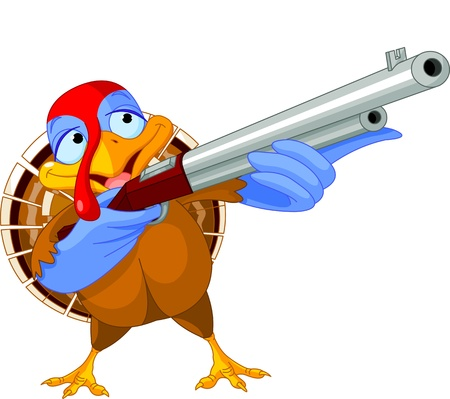 Illustration of shooting turkey