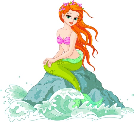 Beautiful mermaid girl sitting on the rock