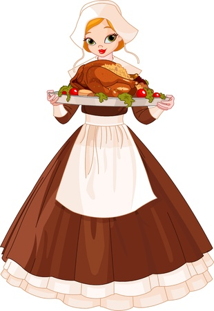 thanksgiving art: Young woman dressed as a Pilgrim serving a big turkey dinner  Illustration