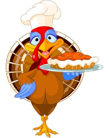 Dinde de Thanksgiving servir tarte à la citrouille Vecteurs