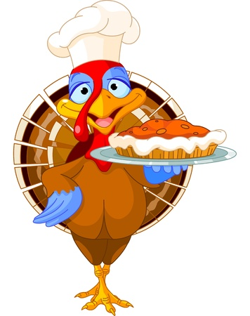 Thanksgiving turkey serving pumpkin pie Stock Vector - 15925713