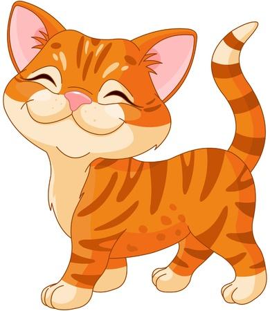 chaton en dessin anim�: Mignon chaton ray� marche fi�re