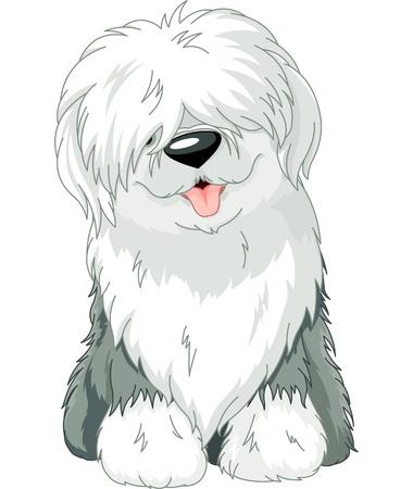 perro caricatura: Ilustraci�n de la sentada divertido Viejo Pastor Ingl�s