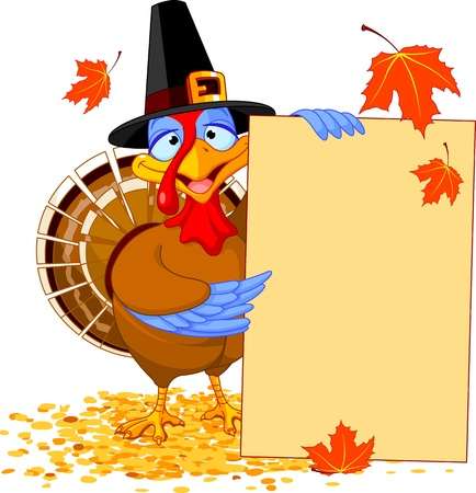 Thanksgiving Turkey holding Holiday Note Vector