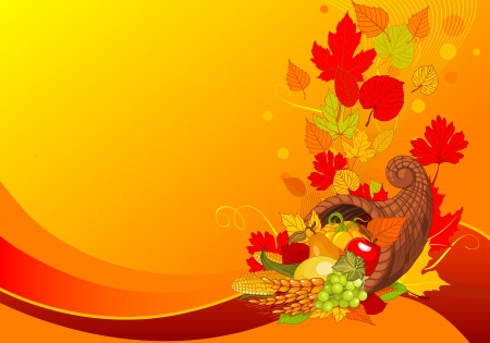 Thanksgiving background with cornucopia full of harvest fruits and vegetables  Vector