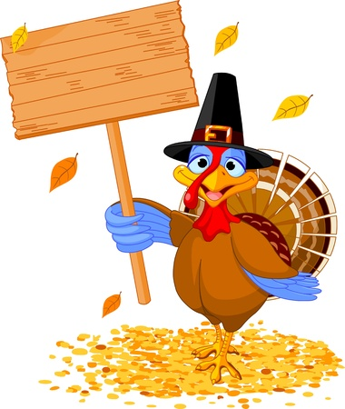 Illustration of a Thanksgiving turkey holding a blank board sign Illustration