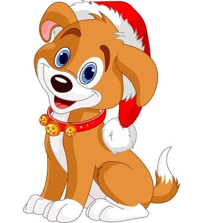 Noël de chien avec chapeau de Père Noël