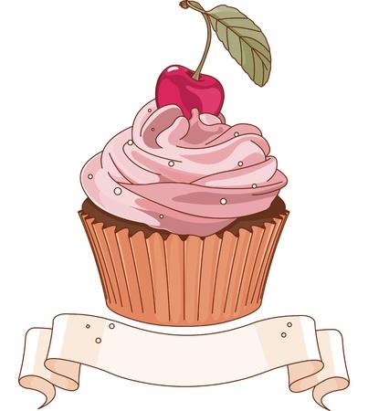위에 체리와 함께 아름 다운 컵 케이크 일러스트