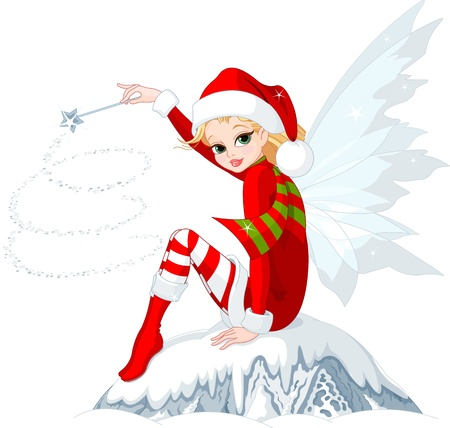 fairy wand: Beautiful Christmas fairy sitting on ice rock