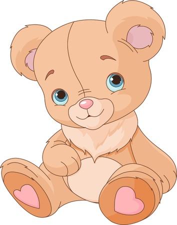 oso caricatura: Oso de peluche sobre fondo blanco