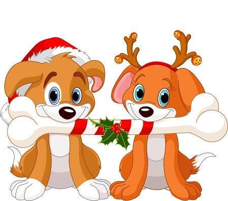 Two Christmas dogs holding decorated bone Illustration