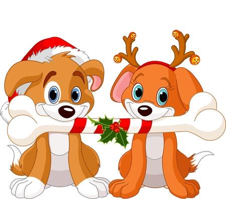 Dois, natal, cachorros, segurando, decorado, osso