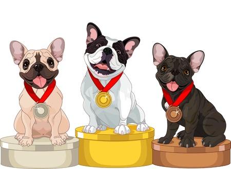 gagnants: Les gagnants du concours de chien sur le podium