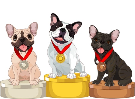 cartoon dog: Winners of Dog competition at the podium  Illustration