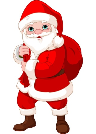 christmas costume: Cute Santa Claus with a bag full of Gifts