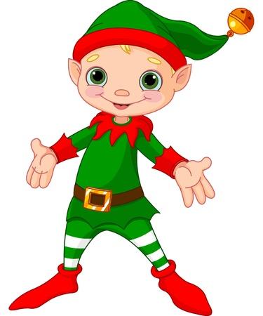cartoon elfe: Illustration von happy Christmas Elf