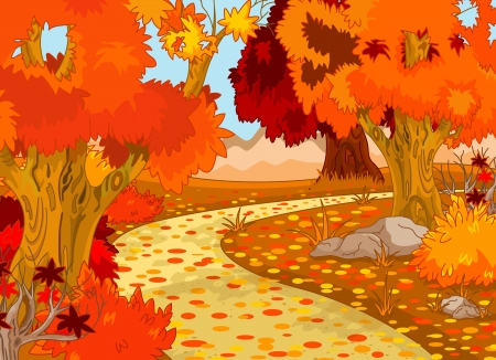Golden Autumn Forest Landscape  Vector