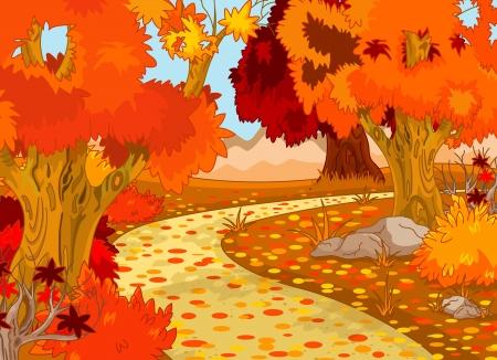 cartoon for�t: Paysage de for�t d'automne d'or