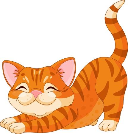 chaton en dessin anim�: Mignon chaton roux �tirement