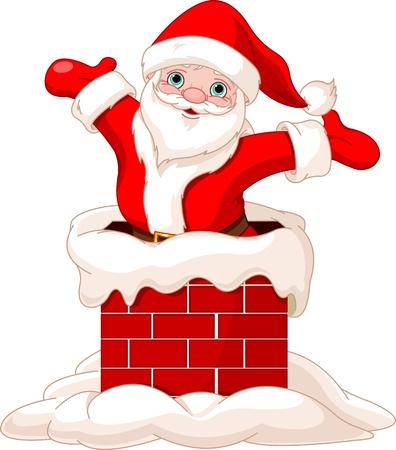 행복 산타 클로스가 굴뚝에서 점프