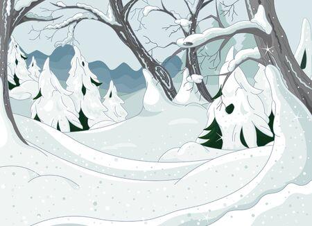 cartoon forest: Winter Forest Landscape Illustration