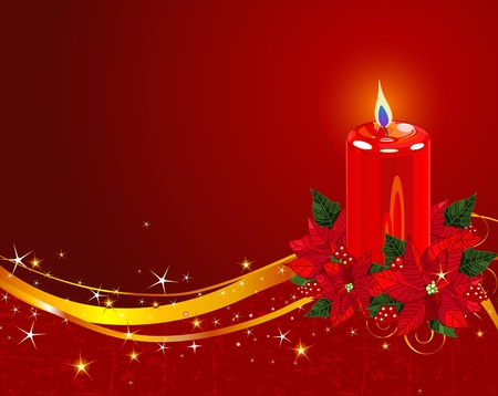 Red pillar candle surrounded by red poinsettia and berries  Vector