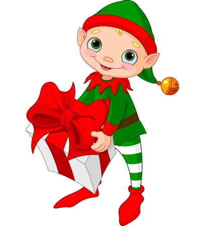 elf cartoon: Christmas Elf holding gift